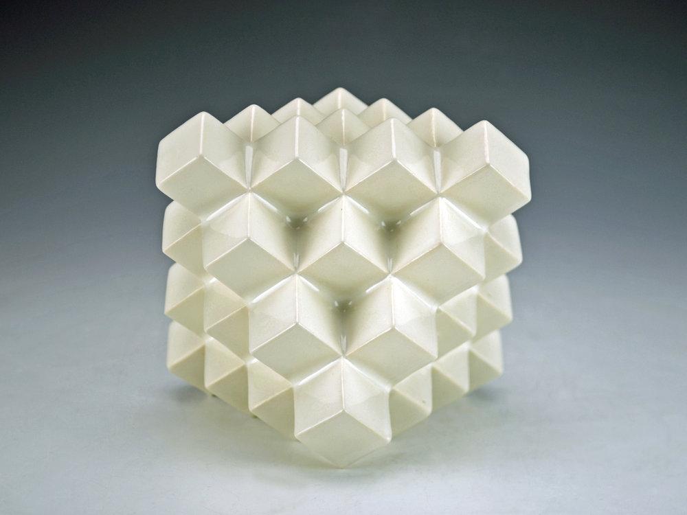 Cubic Series: Octahedron  |  5 x 5 x 5 inches  |  Porcelain, Glaze  |  2017