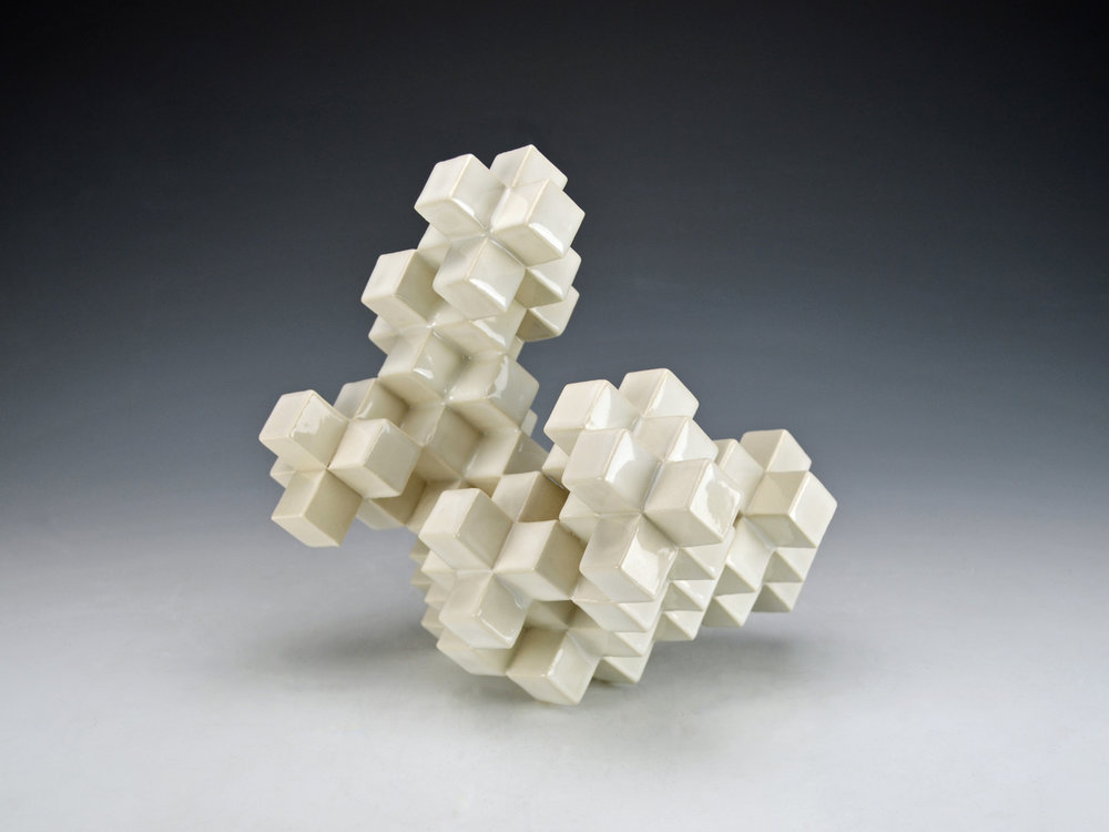 Cubic Series: Construction II  |  11 x 9 x 9 inches  |  Porcelain, Glaze  |  2017