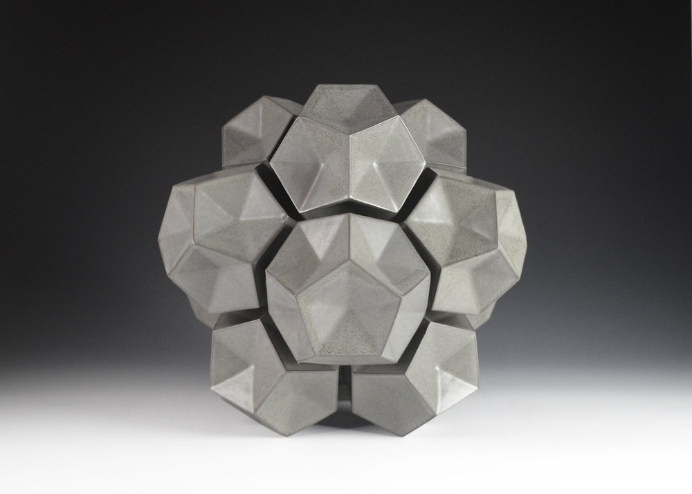 Dodecahedron Construction (Black)  |  14 x 14 x 14 inches  |  Porcelain, Glaze  |  2017