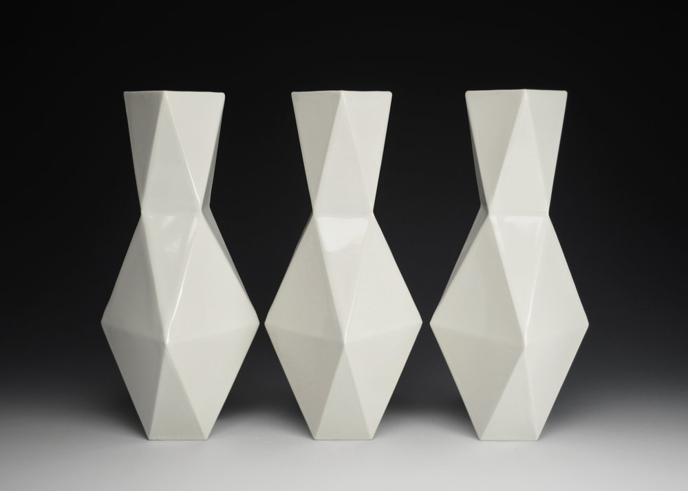 Vases (White)  |  12.5 x 5 x 5 inches  |  Porcelain, Glaze  |  2017