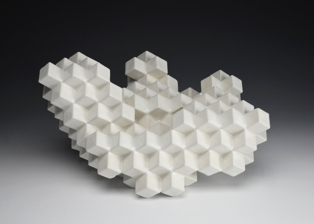 Cubic Series: Construction IX  |  9 x 12 x 13 inches  |  Porcelain, Glaze  |  2017