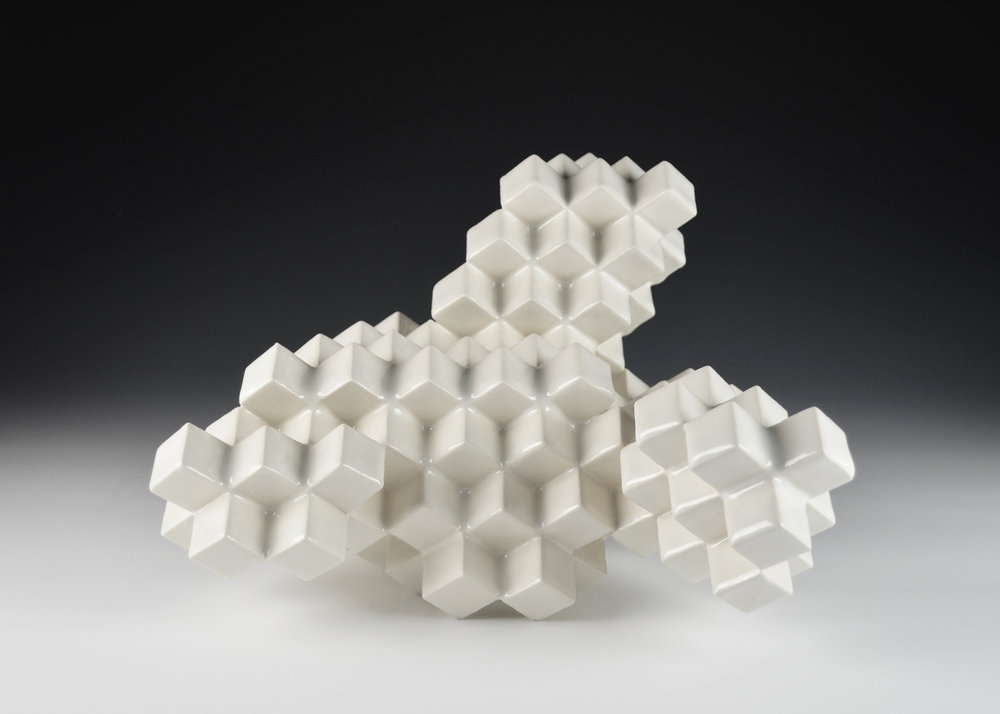 Cubic Series: Construction VIII  |  10 x 12 x 11 inches  |  Porcelain, Glaze  |  2017