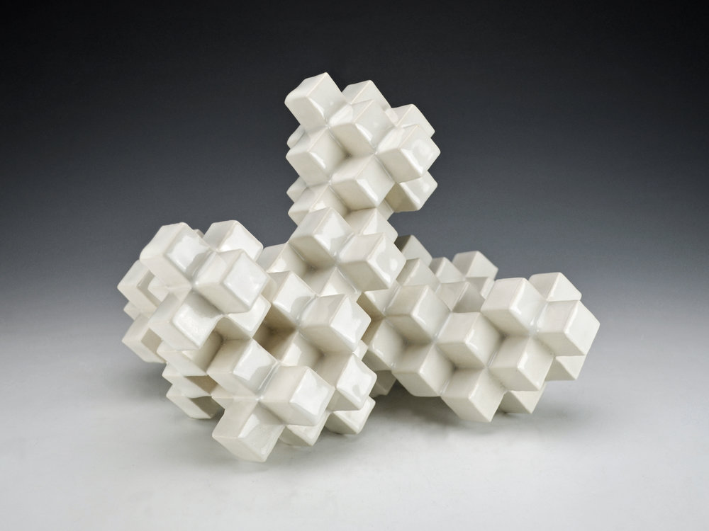 Cubic Series: Construction V  |  9 x 9 x 8 inches  |  Porcelain, Glaze  |  2017