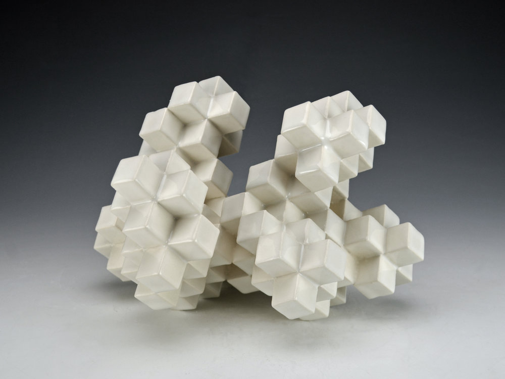 Cubic Series: Construction IV  |  9 x 8 x 8 inches  |  Porcelain, Glaze  |  2017