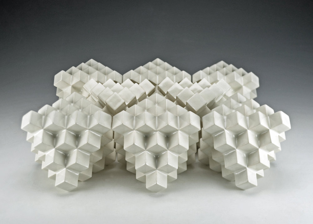 Cubic Series: Octahedrons  |  Each: 5 x 5 x 5 inches  |  Porcelain, Glaze  |  2017