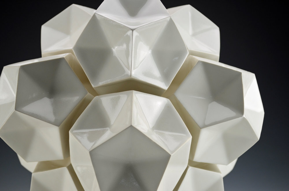 Dodecahedron Construction (White, Detail)  |  14 x 14 x 14 inches  |  Porcelain, Glaze  |  2017