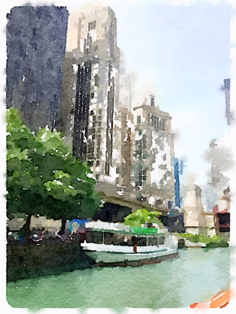 Photo I took in Chicago turned into a watercolor with the Waterlogue app.
