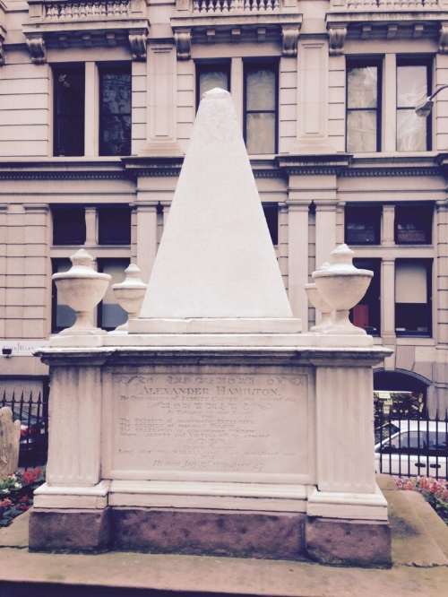 In addition to seeing Hamilton, it was a Hamilton weekend, with a trip to Alexander Hamilton's grave at Trinity Church.