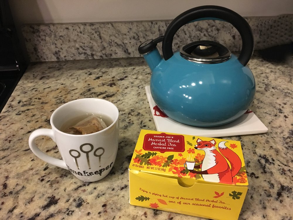 I love this Harvest Blend Herbal Tea from Trader Joe's.