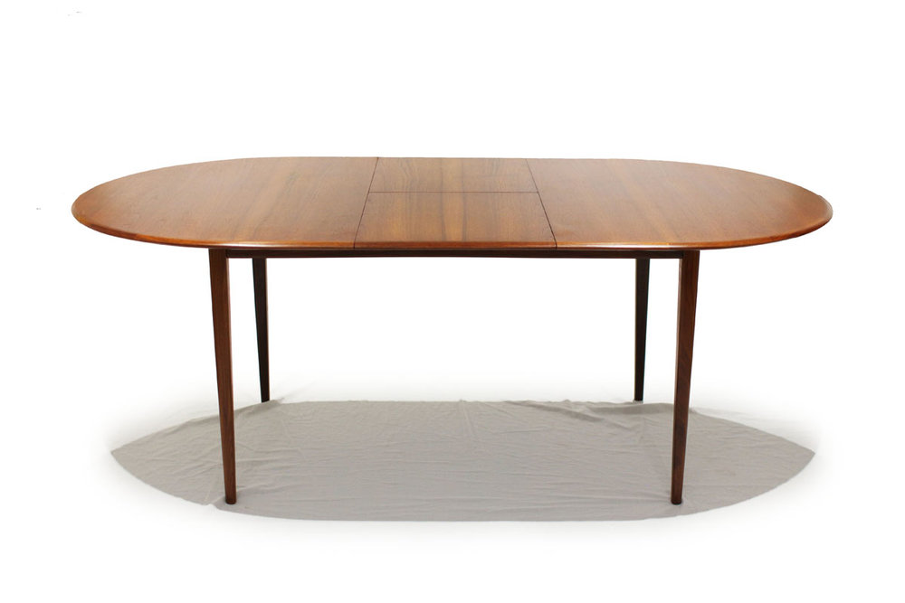 SOLD Oval Teak Butterfly Leaf Extendable Dining Table FURNITURE - Modern oval dining table with leaf