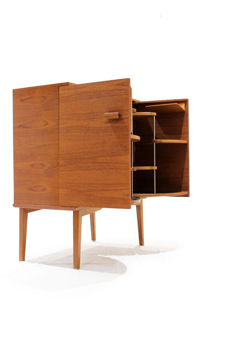 Danish Teak Liquor Cabinet (finished On All Sides)