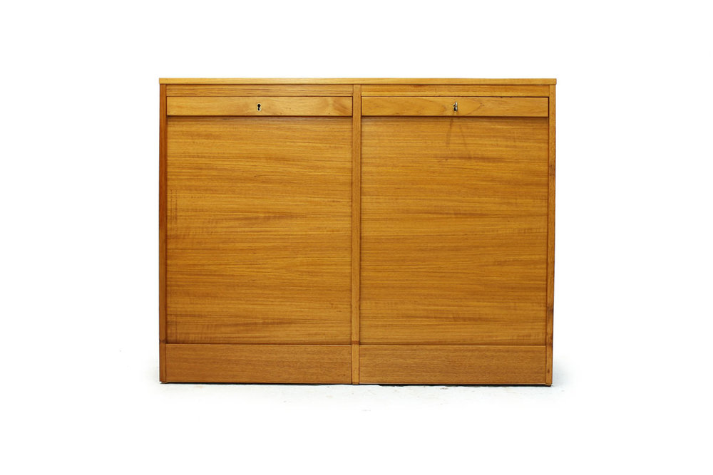 Mid-Century Modern Era Danish Teak Filing Cabinet with 2 Tambour Doors and 4 Drawers