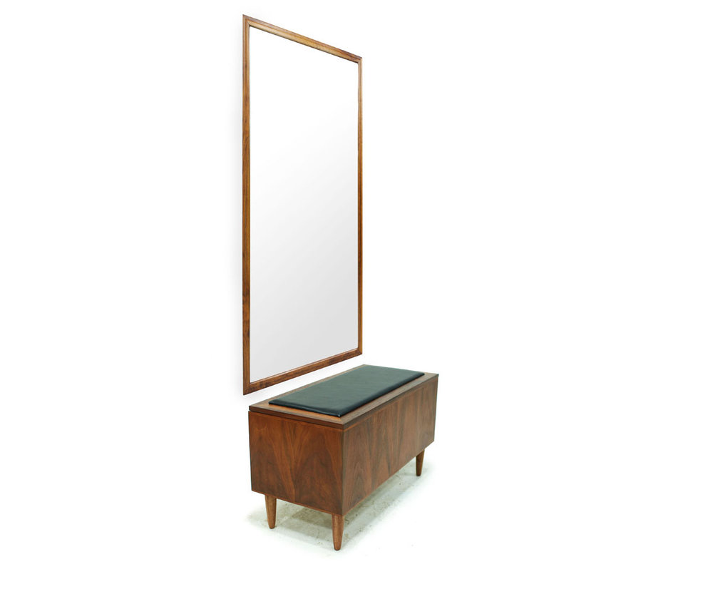MCM Walnut Wood and Black Vinyl Hallway Storage / Shoe Bench with Hanging Mirror and Tapered Legs