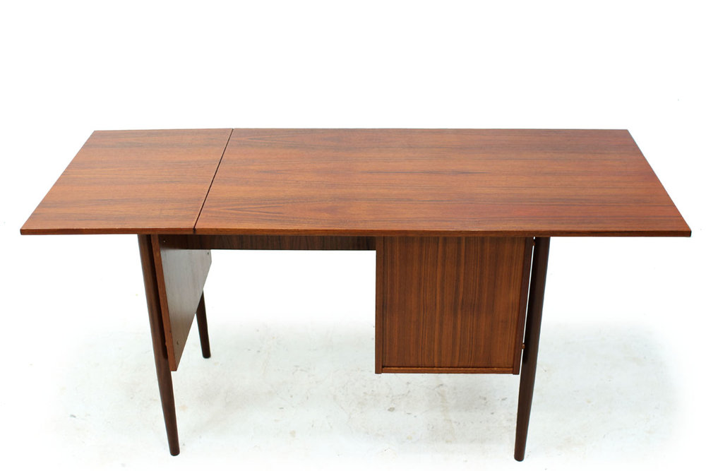 MCM Extendable 2 Drawer Teak Wood Desk in the Style of Danish Designer Arne Vodder with Adjustable Storage Drawers