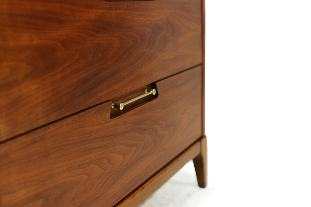 Mid-Century Modern Walnut Wood 4 Drawer Upright Tallboy Dresser with Beautiful Gold Handles