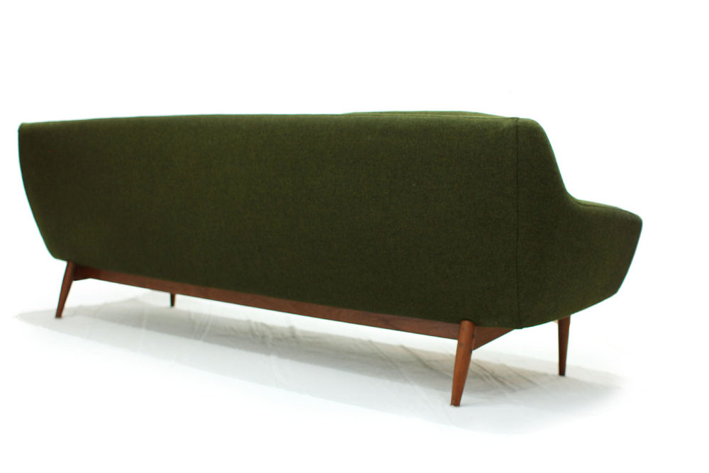 Comfortable Mid Century Modern Green Norwegian Couch