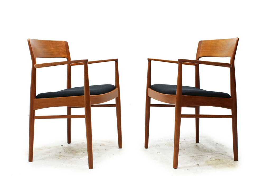 Pair of 1960's Teak Armchairs with Black Fabric Designed by Danish Designer K.S Mobler