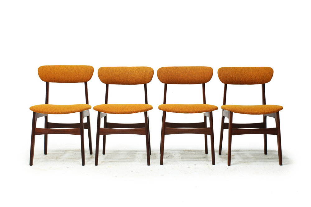 1960's Canadian MCM Teak Wood set of 4 Dining Chairs with Original Yellow Fabric by R Huber & Co.