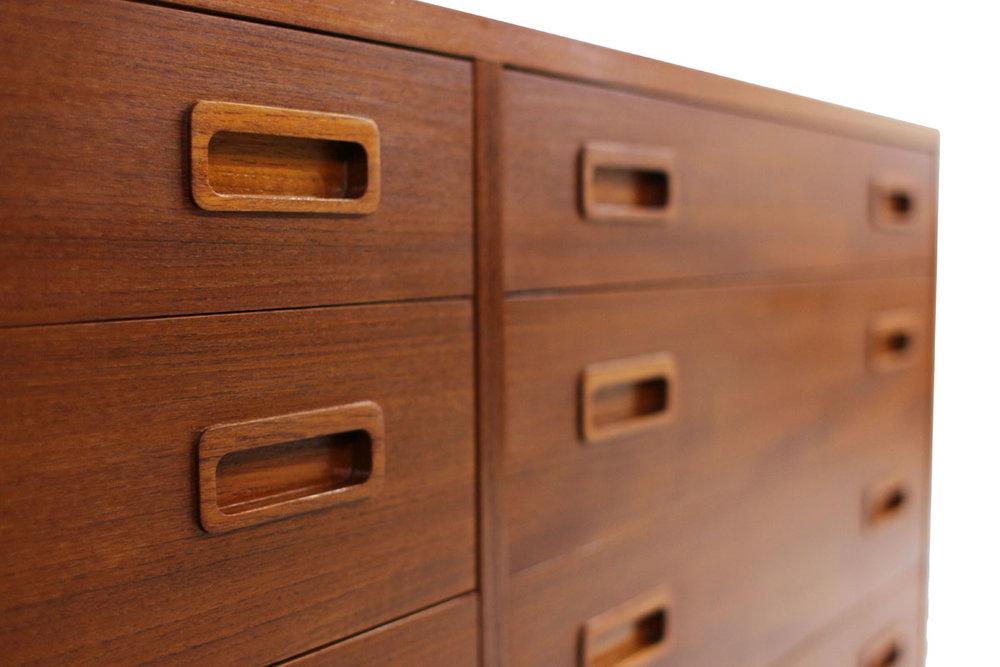 Danish MCM Teak wood 8 Drawer Dresser by Designer Poul Hundevad with tapered legs