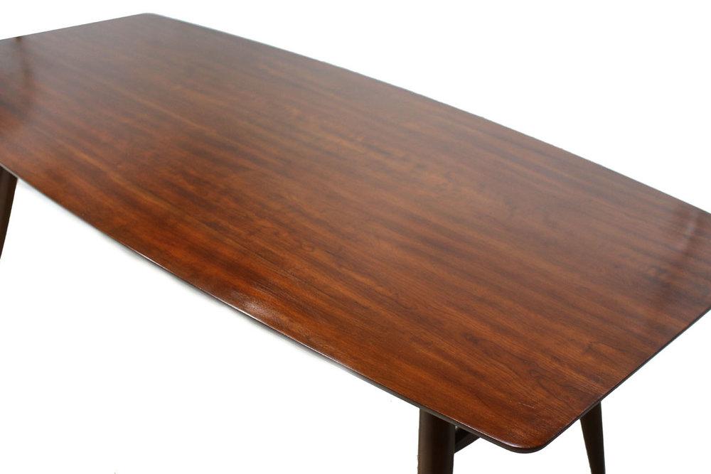 Large Mid-Century Modern Walnut Wood Surfboard Dining Table