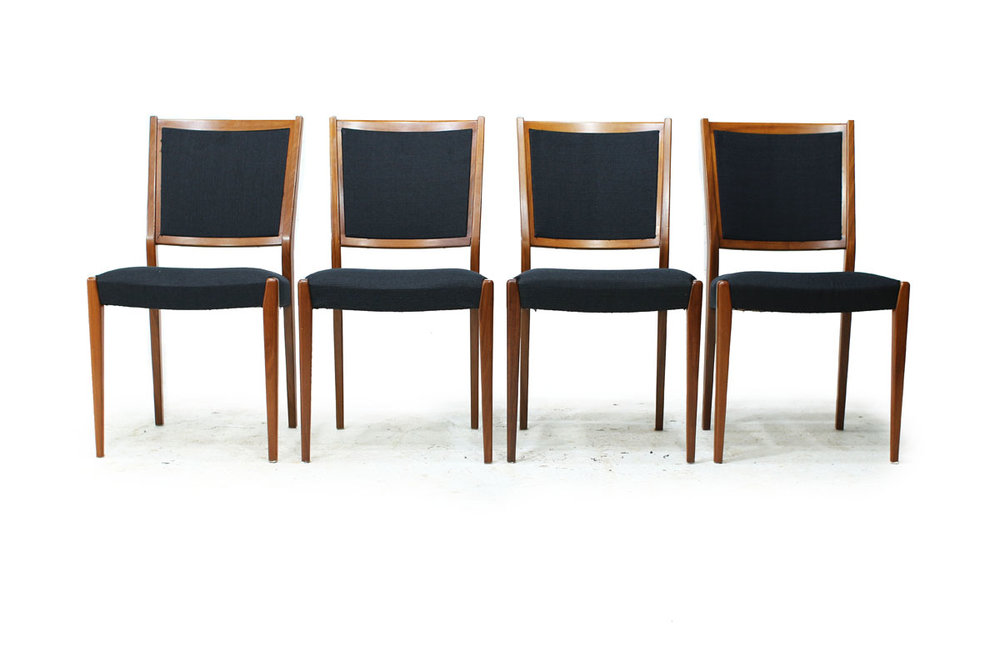 Set of Four Mid Century Modern Comfy Swedish Dining Chairs with Black Fabric