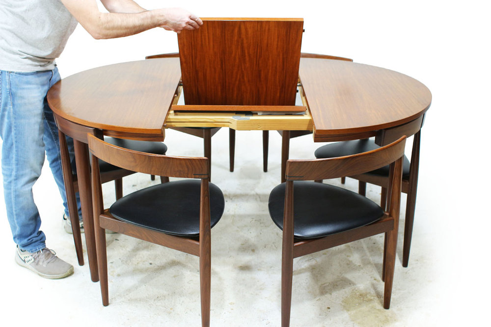 Danish Designer Hans Olsen Teakwood Mid Century Modern Nesting Dining Set with 6 Chairs with vinyl cushions