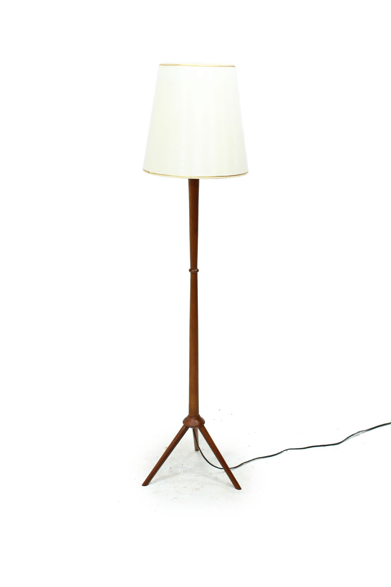 Teak Wood Mid Century Modern Floor Lamp with tripod legs