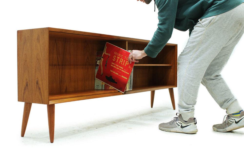Mid Century Modern Teak wood Bookshelf with angled tapered legs