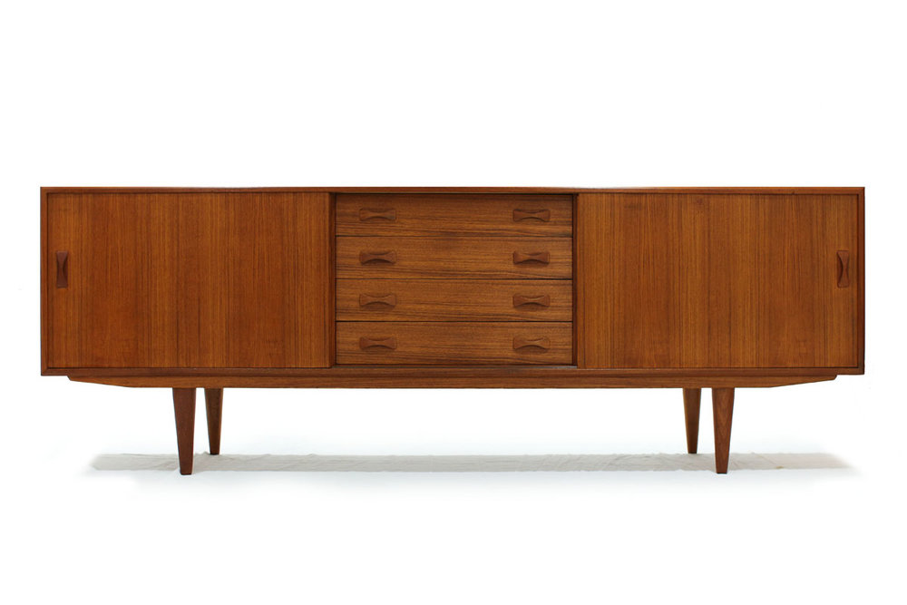 MCM Scandinavian 1960's Teakwood Sideboard by Designer Clausen and Son with tapered legs