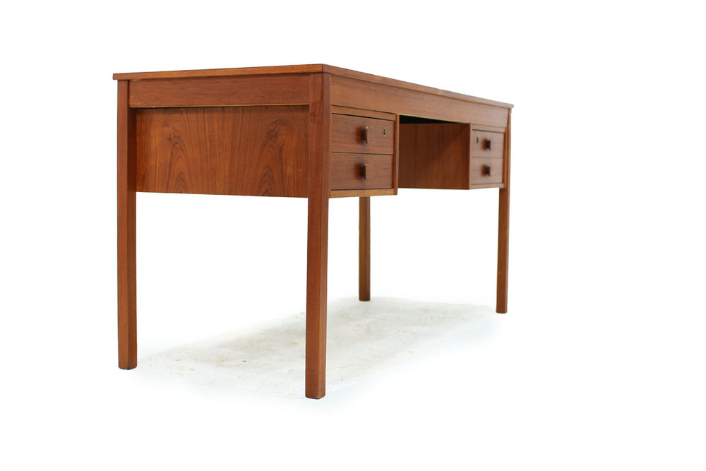 Danish Teak wood Mid Century Modern Double Sided 4 Drawer Desk Made in Denmark