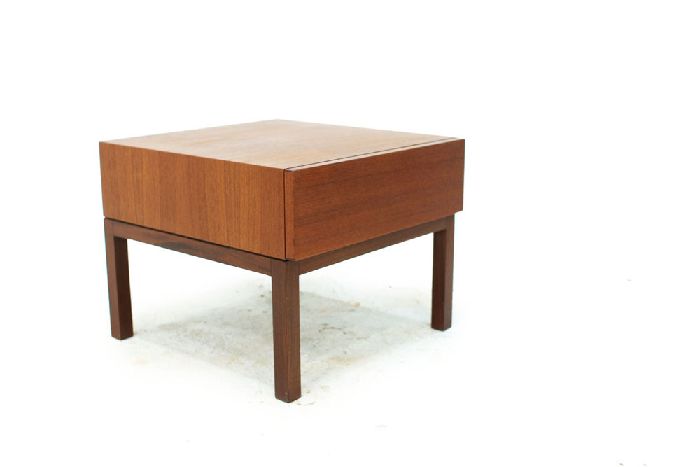 Swedish Mid Century 1 Drawer Teak Bedside Nightstand