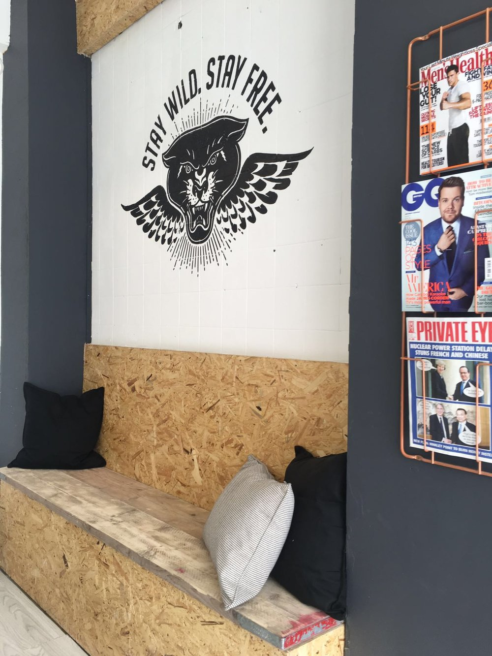 Wall design at Barber Chair at E-Street Barbers Clapton Hackney