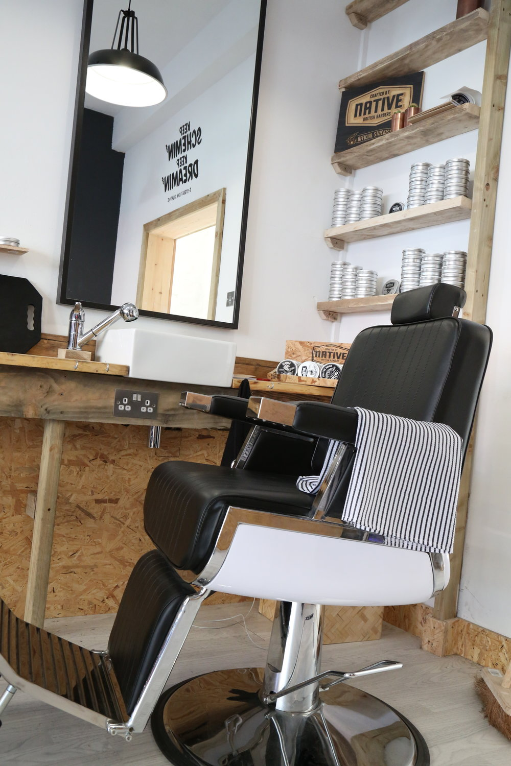 Barber Chair at In store at E-Street Barbers Clapton Hackney
