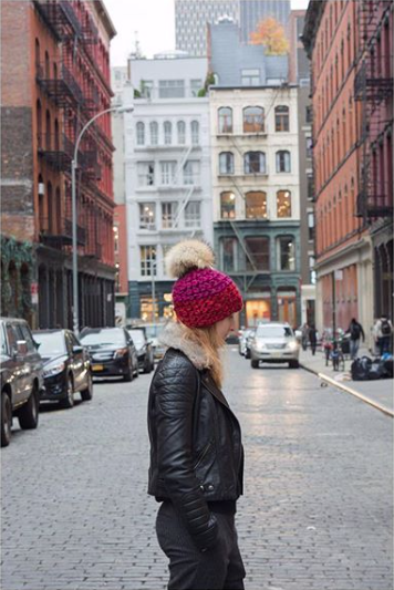 ruby + cherry deep beanie color block • raccoon xl pom