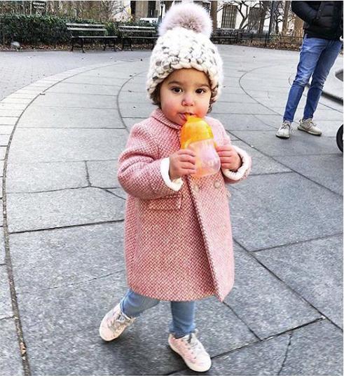 toddler white / marble blend beanie pomster • blush xl pom