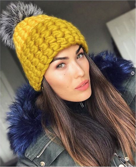 marigold + dijon deep beanie color block • silver fox xl pom