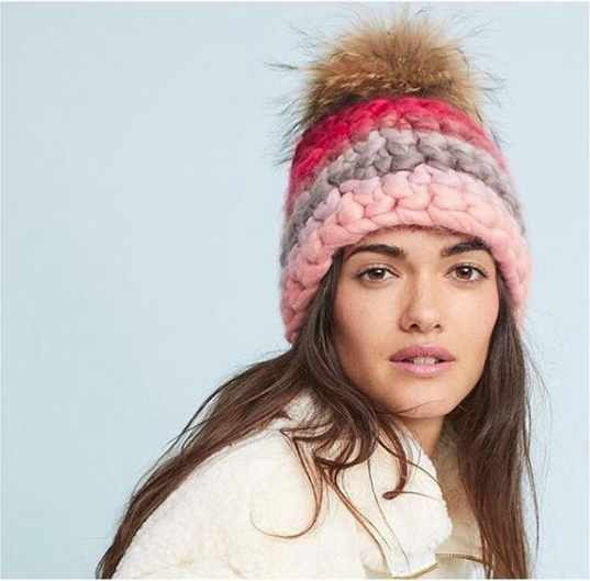 red stripe beanie • raccoon xl pom