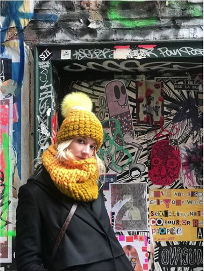 marigold + dijon deep beanie color block • yellow xl pom
