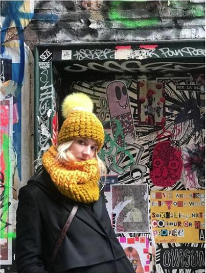 marigold + dijon deep beanie color block • yellow xl pom