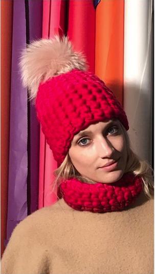 vermillion + red deep beanie color block • arctic pink xl pom