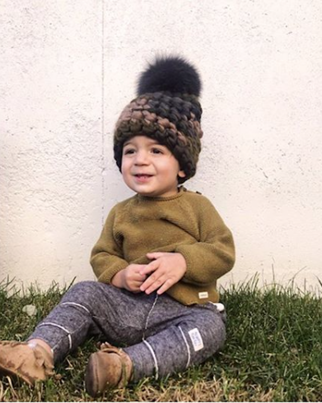 toddler camo beanie melange • graphite xl pom