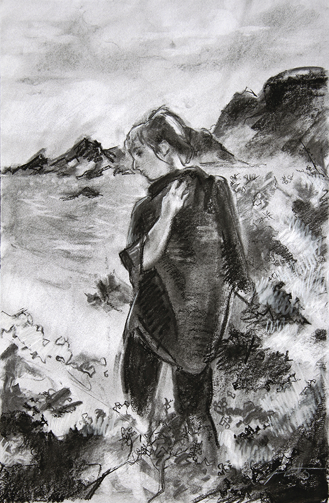 Composition study for painting inspired by Scotland . Charcoal on paper. 18 x 12 inches.