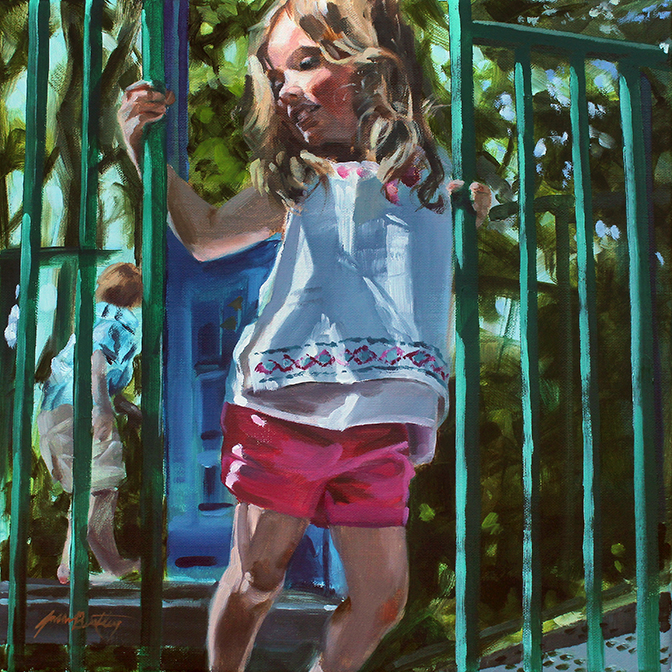 Portrait of Elia at Play :: Oil on linen - 14 x 14 inches