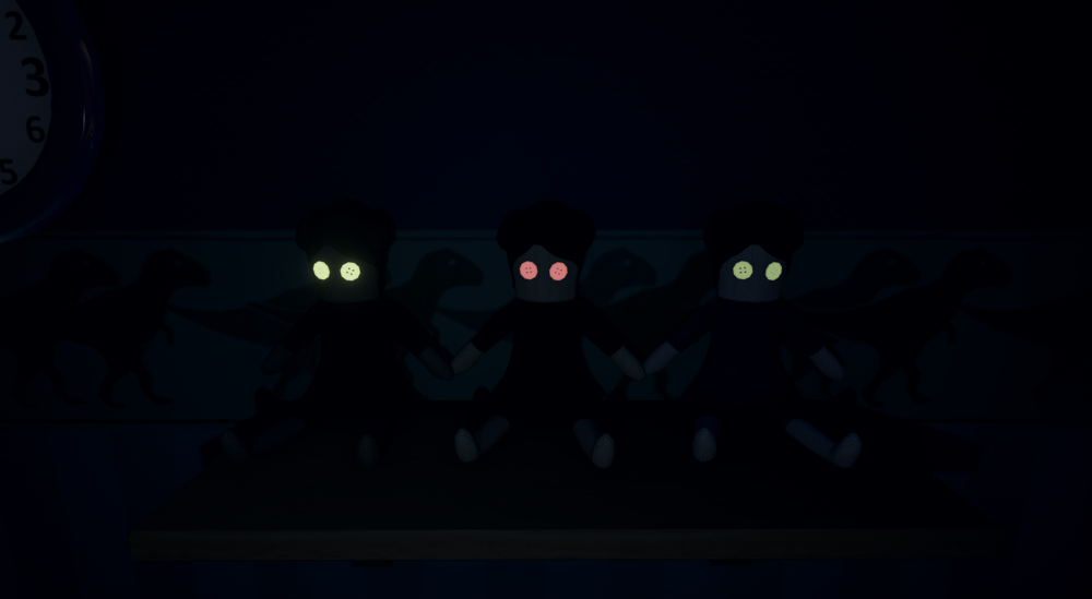 Teddy keeps popping up on lit shelves throughout the game. His counterpart; the dolls seen in this picture, hides on shelves shrouded in darkness.
