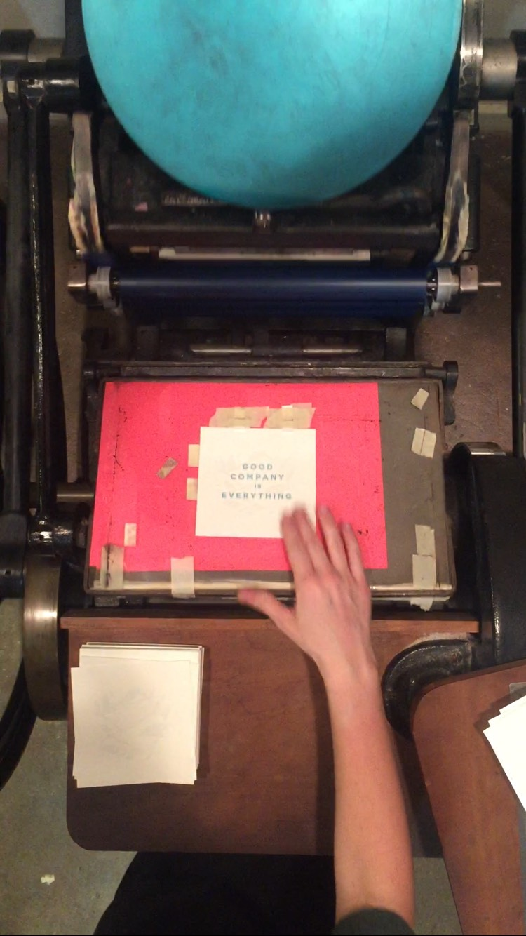 Me at the press printing the blue edition.