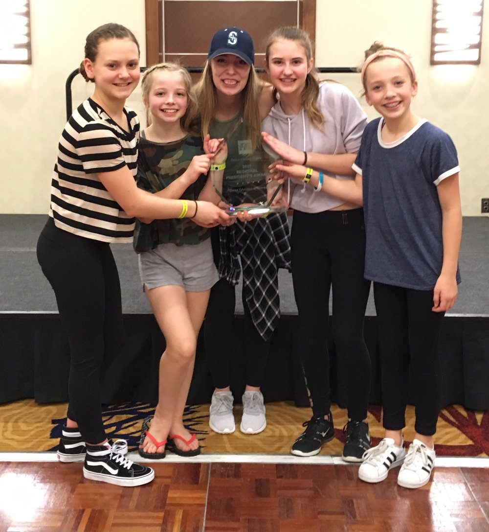 """Clap Your Hands"" choreographed by Sami Leyde received the President's Award for overall highest score of all combined groups, lines & productions at DEA Seattle Convention!"