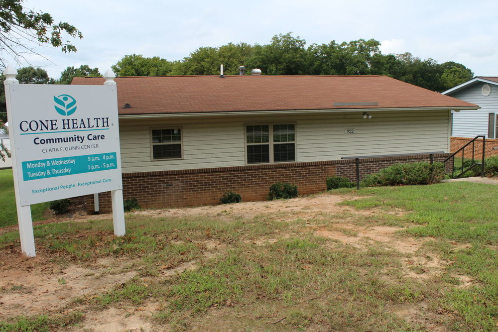 The Cone Health Community CAre Clara F. Gunn center is located at 922 third avenue, reidsville, nc.