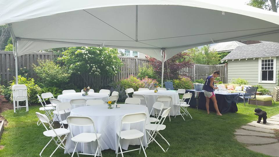 our 40 person package - set up in a tight backyard.