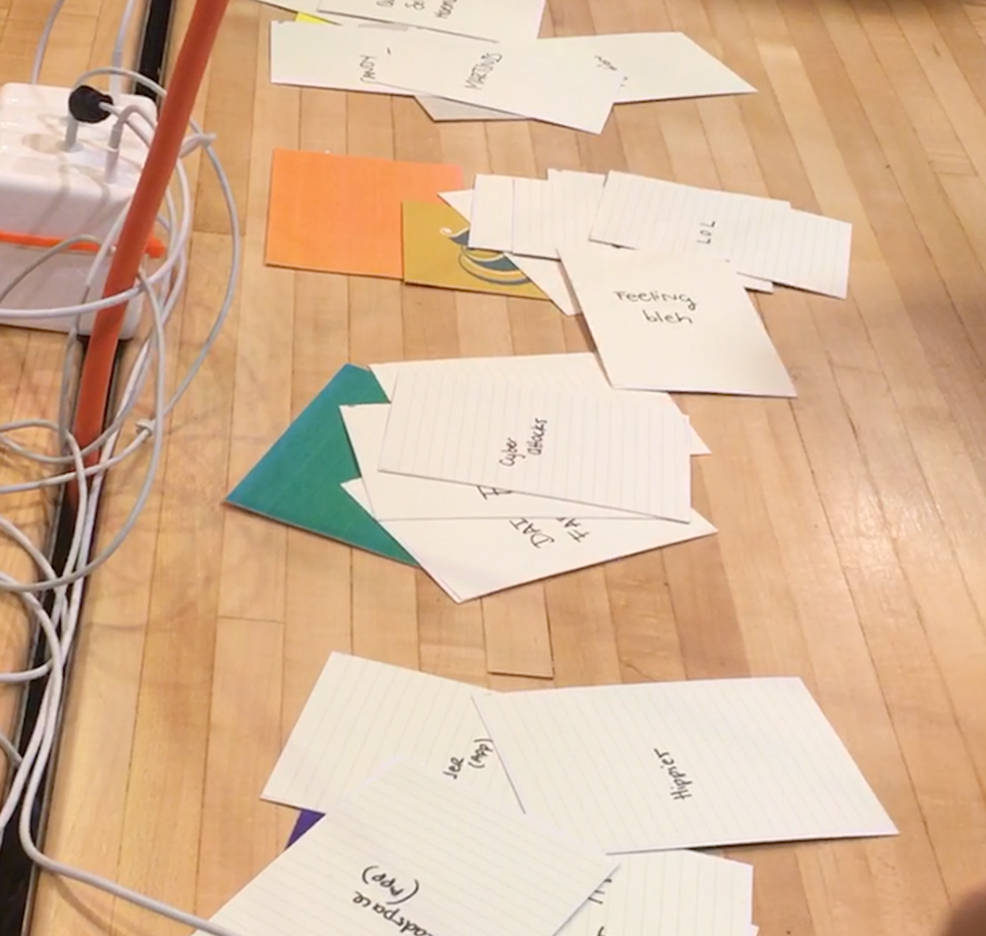 Making Connections - Students learn how to make unexpected connections through different phrases that have been grouped together through color. Colors carry stories and connotations and it is important to empathize with users before making design decisions. The final outcome is a first-person user story that provides insight on a current human need.