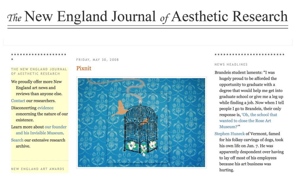 REVIEW - The New England Journal of Aesthetic Research review of the exhibition Hello My Name is PIXNIT at the Judi Rotenberg Gallery by Greg Cook | 5.30.2008
